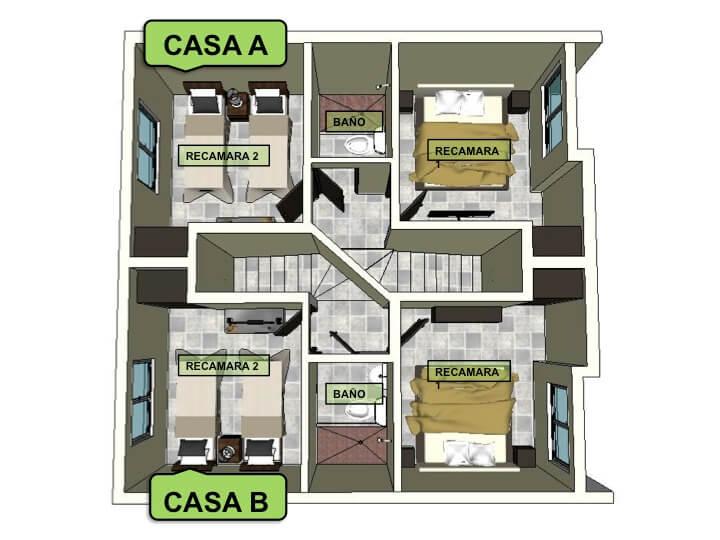 Planta Alta, Modelo Duplex, Fraccionamiento Lomas Verdes